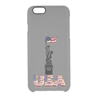 Capa Para iPhone 6/6S Transparente Bandeira undulating da estátua da liberdade