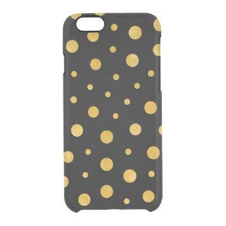 Capa Para iPhone 6/6S Transparente Bolinhas elegantes - ouro preto