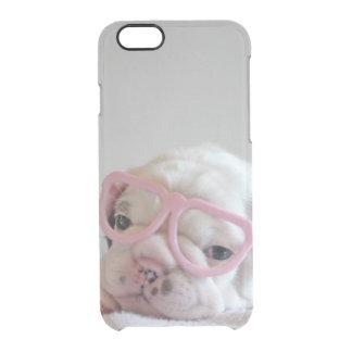 Capa Para iPhone 6/6S Transparente Buldogue francês em vidros do coração