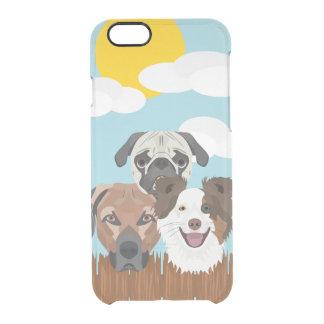 Capa Para iPhone 6/6S Transparente Cães afortunados da ilustração em uma cerca de