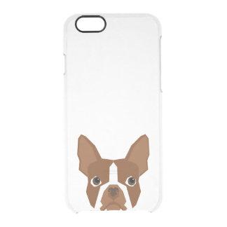 Capa Para iPhone 6/6S Transparente Caixa clara vermelha de Boston Terrier - persiga a