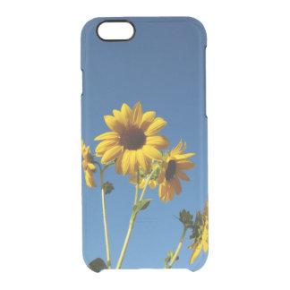 Capa Para iPhone 6/6S Transparente Caixa da foto do girassol & da abelha
