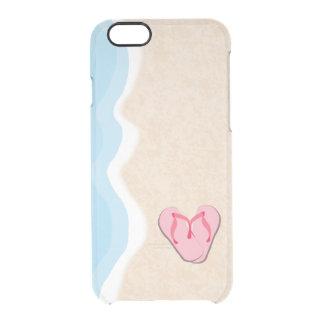 Capa Para iPhone 6/6S Transparente Chinelos cor-de-rosa na praia