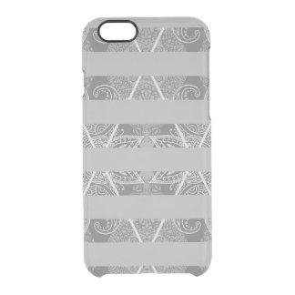 Capa Para iPhone 6/6S Transparente Cinza Embellished Argyle listrado