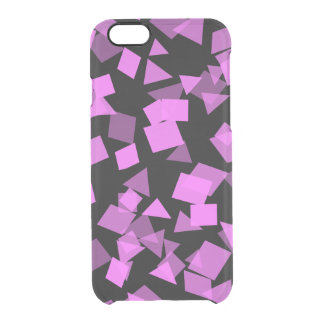 Capa Para iPhone 6/6S Transparente Confetes cor-de-rosa brilhantes no preto