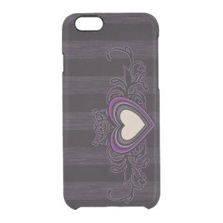 Capa Para iPhone 6/6S Transparente Coração sujo roxo da obscuridade das listras