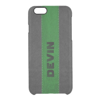 Capa Para iPhone 6/6S Transparente Couro costurado preto & verde elegante do vintage