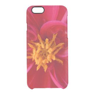 Capa Para iPhone 6/6S Transparente Dália vermelha bonito -
