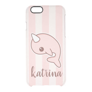Capa Para iPhone 6/6S Transparente Desenhos animados cor-de-rosa bonitos Narwhal com