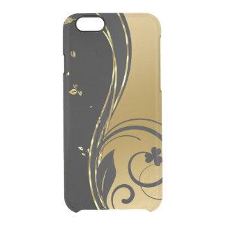 Capa Para iPhone 6/6S Transparente Design floral GR2 dos redemoinhos do ouro preto &