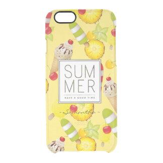 Capa Para iPhone 6/6S Transparente Divertimento das frutas e do gelado do verão