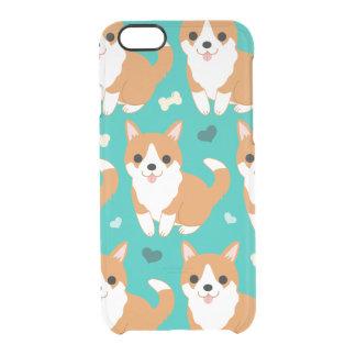 Capa Para iPhone 6/6S Transparente Do cão bonito do Corgi de Kawaii teste padrão