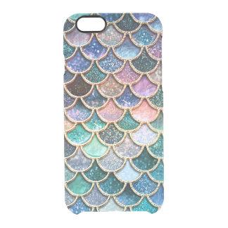 Capa Para iPhone 6/6S Transparente Escalas multicoloridos luxuosas da sereia do
