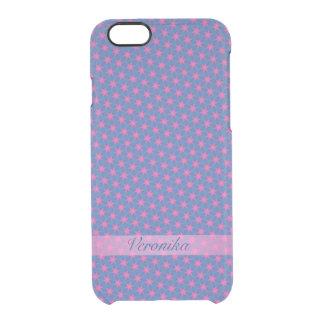 Capa Para iPhone 6/6S Transparente Estrelas cor-de-rosa em um fundo azul
