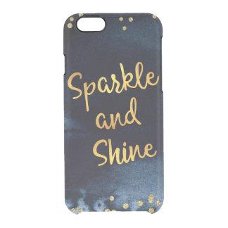 Capa Para iPhone 6/6S Transparente Faísca e de ouro & de aguarela do brilho arte da