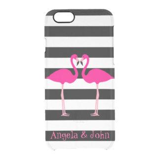 Capa Para iPhone 6/6S Transparente Flamingos cor-de-rosa, preto, listras brancas