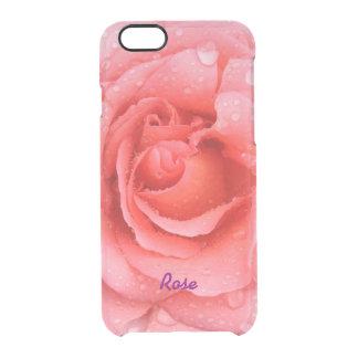 Capa Para iPhone 6/6S Transparente Gotas cor-de-rosa vermelhas românticas da água