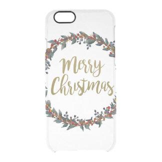 Capa Para iPhone 6/6S Transparente Grinalda da aguarela - Feliz Natal - ramos