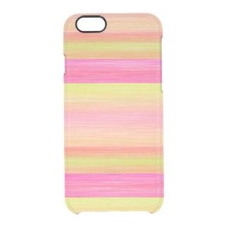 Capa Para iPhone 6/6S Transparente Listras alaranjadas corais da aguarela do amarelo