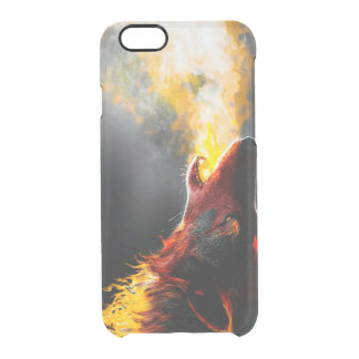 Capa Para iPhone 6/6S Transparente Lobo do fogo