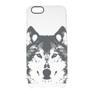 Capa Para iPhone 6/6S Transparente Lobo preto da ilustração