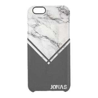 Capa Para iPhone 6/6S Transparente Mármore branco e cinzento e listras pretas
