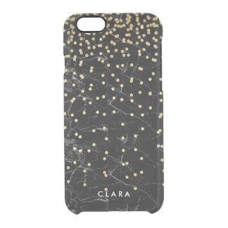 Capa Para iPhone 6/6S Transparente mármore elegante do preto dos confetes do brilho