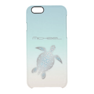 Capa Para iPhone 6/6S Transparente Monograma claro de prata costal da tartaruga de