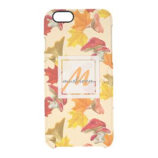 Capa Para iPhone 6/6S Transparente Monograma colorido das folhas e dos cogumelos de
