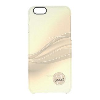 Capa Para iPhone 6/6S Transparente Monograma moderno das ondas do caramelo leitoso