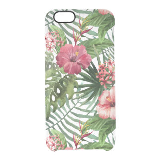 Capa Para iPhone 6/6S Transparente O hibiscus tropical floresce o teste padrão da