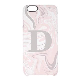 Capa Para iPhone 6/6S Transparente Olhar de mármore cor-de-rosa e branco minimalista