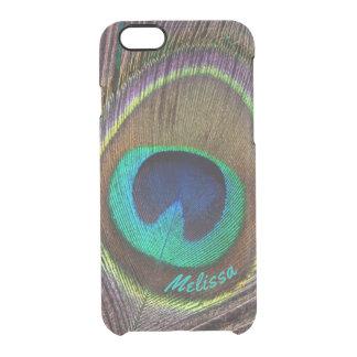 Capa Para iPhone 6/6S Transparente Olho bonito da pena do pavão, seu nome