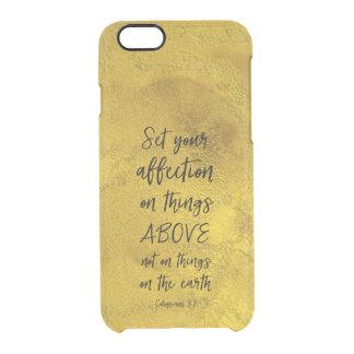 Capa Para iPhone 6/6S Transparente Ouro com verso da bíblia