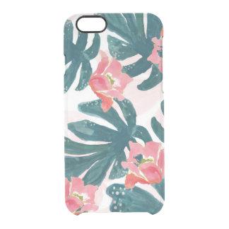 Capa Para iPhone 6/6S Transparente Palma tropical da aguarela, Hibiskus havaiano