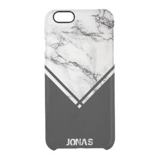 Capa Para iPhone 6/6S Transparente Pedra de mármore branca & cinzenta e listras