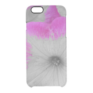 Capa Para iPhone 6/6S Transparente Petúnias preto e branco orlarados rosa
