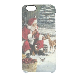 Capa Para iPhone 6/6S Transparente Pintura de Papai Noel - arte do Natal