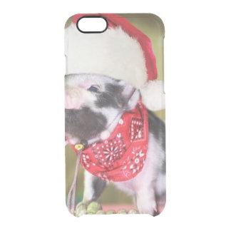 Capa Para iPhone 6/6S Transparente Porco Papai Noel - porco do Natal - leitão