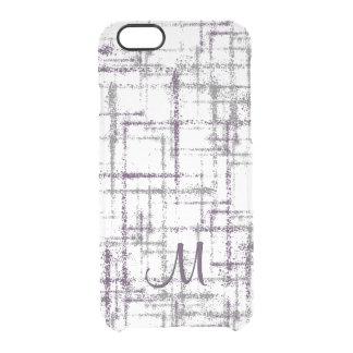 Capa Para iPhone 6/6S Transparente quadrados abstratos roxos da beringela e das