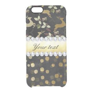 Capa Para iPhone 6/6S Transparente Quadro dos diamantes dos confetes dos cervos do