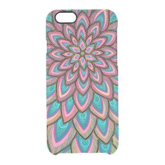 Capa Para iPhone 6/6S Transparente Rosa & flor azul, semi transparente, abstrata,