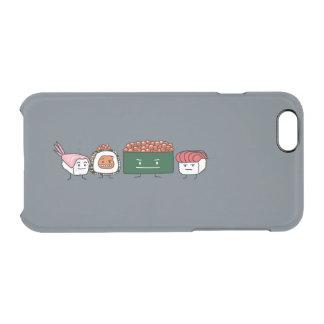Capa Para iPhone 6/6S Transparente Salmões japoneses do camarão do arroz feliz dos