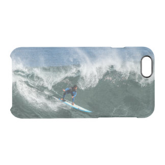 Capa Para iPhone 6/6S Transparente Surfista na prancha azul e branca