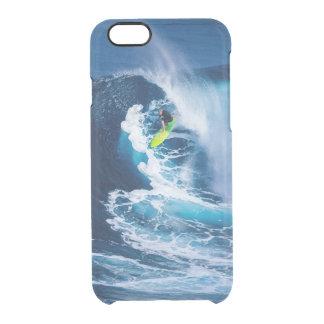 Capa Para iPhone 6/6S Transparente Surfista na prancha verde