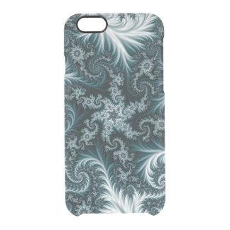 Capa Para iPhone 6/6S Transparente Teste padrão ciano e branco do fractal