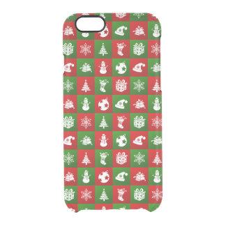 Capa Para iPhone 6/6S Transparente Teste padrão do ano novo. Vermelho, verde, branco.