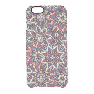 Capa Para iPhone 6/6S Transparente Teste padrão floral étnico abstrato colorido da