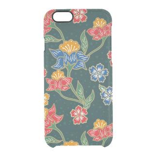 Capa Para iPhone 6/6S Transparente Teste padrão floral indonésio verde escuro do