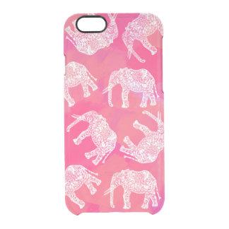 Capa Para iPhone 6/6S Transparente teste padrão floral tribal colorido cor-de-rosa